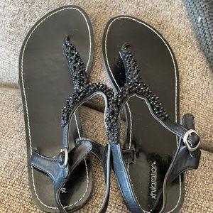 Xhilaration Black Beaded Sandals
